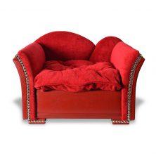 Luxus Hundesofa Hundebett Herzchen Rot Detail 5