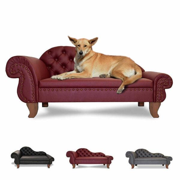 Luxus Designer Hundesofa Hundecouch Recamiere Chesterfield Kunstleder Preiswolf24