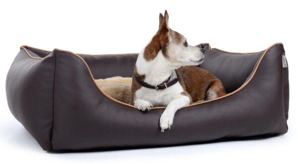 Hundebett aus Kunstleder braun
