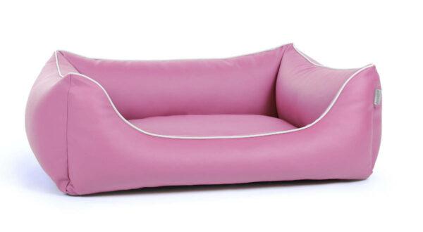 Hundebett aus Kunstleder pink