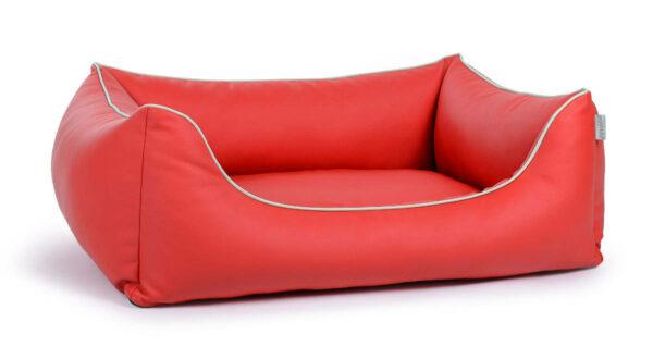Hundebett aus Kunstleder rot