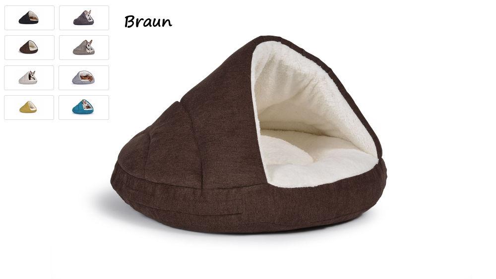 Hundehöhle Hundebett Shell Comfort für kalte Tage braun