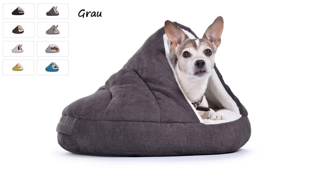Hundehöhle Hundebett Shell Comfort für kalte Tage grau