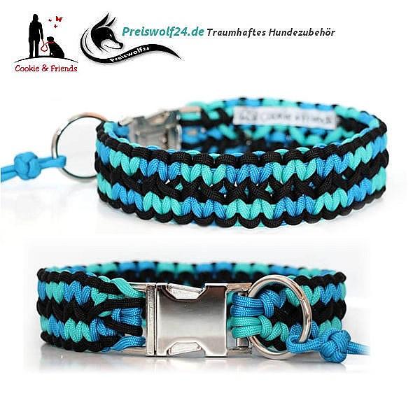 Paracod-Hundehalsband-zick-zack-schwarz-hellblau-blau