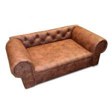 Luxus Designer HundesofaHundebett Kunstleder OHIO NEW Chesterfield Antik cognac Design