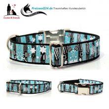 Hundehalsband schwarz weiß blau
