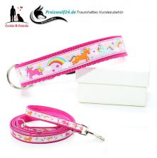Hundehalsband Gurtband Einhorn rosa Hundeleine Cookie and friends
