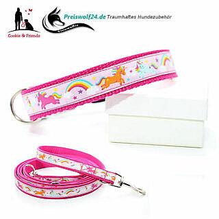 Hundehalsband Gurtband Einhorn rosa Hundeleine Cookie and friends