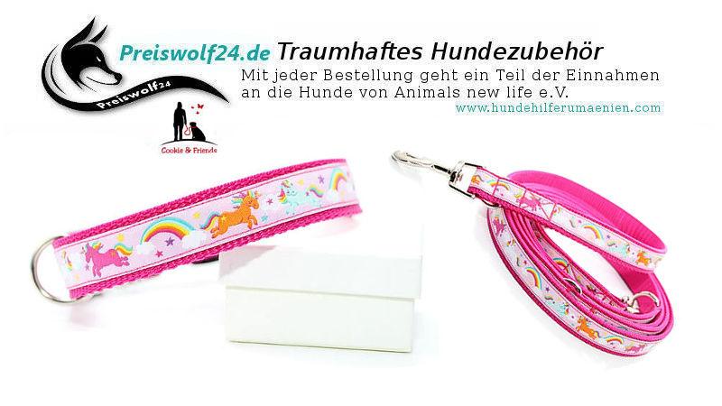 Hundehalsband Gurtband Einhorn rosa Hundeleine