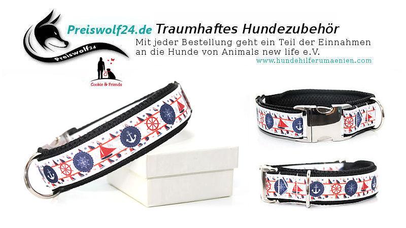 Hundehalsband-Hundeleine-Maritime Symbole weiß