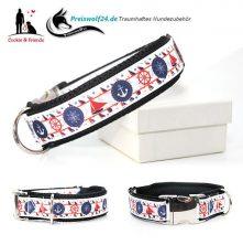 Hundehalsband Maritime Symbole weiß