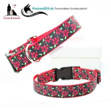 Hundehalsband-Red-Flowers