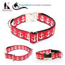 Hundehalsband Weiße Anker auf Rot