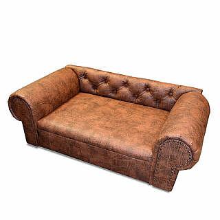 Luxus Designer HundesofaHundebett Kunstleder OHIO NEW Chesterfield Antik cognac Design