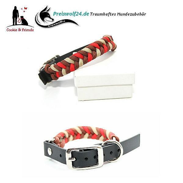 Hundehalsband aus Paracord Konfetti - Braun, Rot, Beige