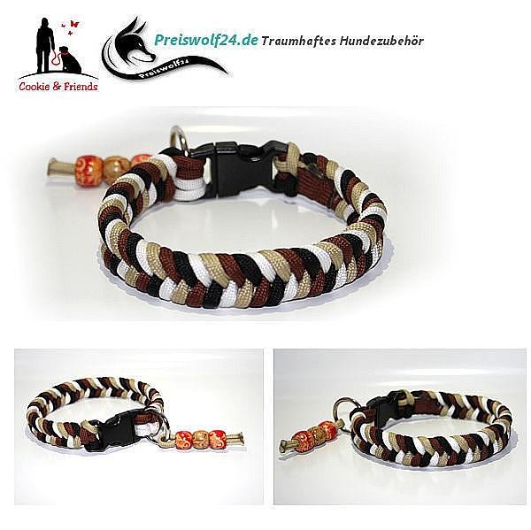 Hundehalsband aus Paracord Konfetti - Braun, Beige, Schwarz