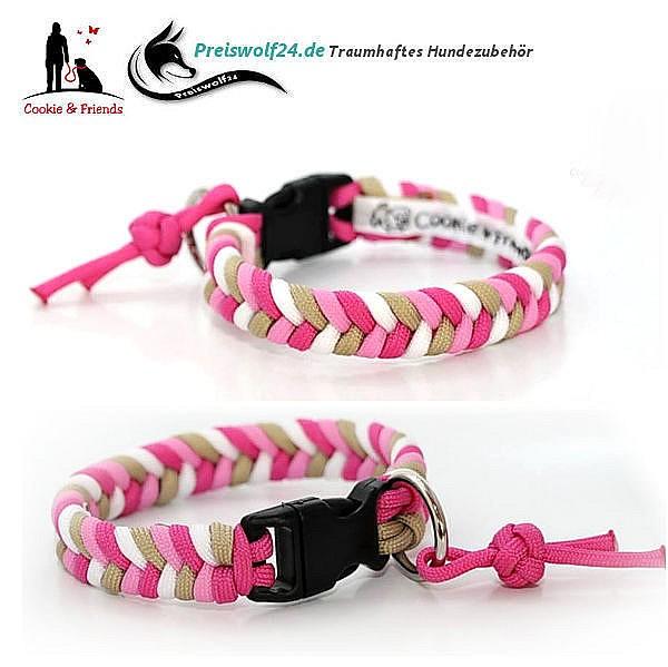Hundehalsband aus Paracord Konfetti - Beige, Rosa, Pink