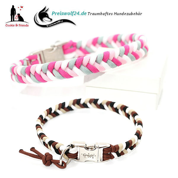 Hundehalsband-aus-Paracord-Weiss-Silbergrau-DarkPink-RosePink-vorschau