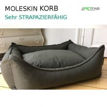 MOLESKIN-Korb-Körbchen-mit-orthopädischer-PETFAB-Füllung