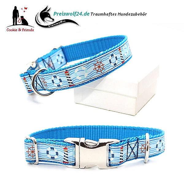 Hundehalsband Gurtband Tag am Meer Hellblau