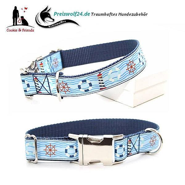 Hundehalsband Gurtband Tag am Meer Dunkelblau