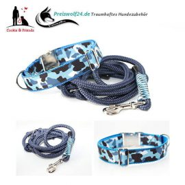 Hundehalsband-Tauhundeleine-Camouflage-Set