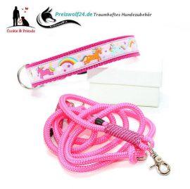 Hundehalsband-Tauhundeleine-Einhorn-Rosa