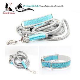 Hundehalsband-Tauhundeleine-Grau-Tuerkis-Set