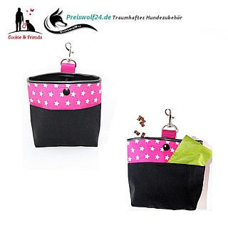 Leckerlibeutel Bag und Snack Sterne auf Pink