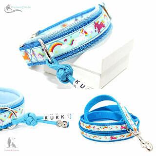 Hundehalsband Einhorn himmelblau