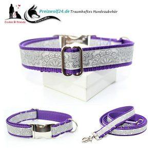Hundehalsband Stickerei-Grau-auf-Lila-2