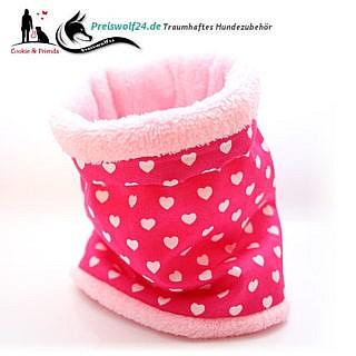 Hundeschal Hundeloop Loops Herzen auf Pink
