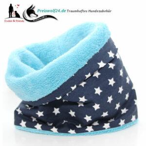 Hundeschal Hundeloop Loops Weisse Sterne auf Blau