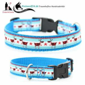 Weihnachts-Hundehalsband-Rentierarlam-Blau
