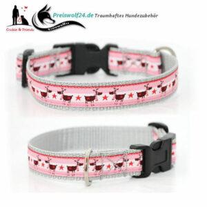 Wreihnachts-Hundehalsband Rentierarlam Rosa