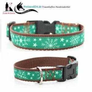 Winterhundehalsband Schneeflocke-Gruen