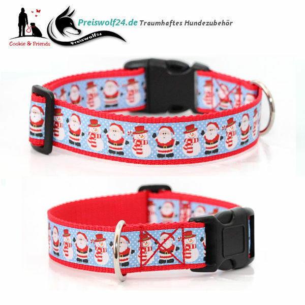 Winter Hundehalsband-Snata-und-Snowman