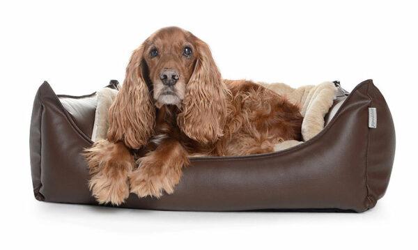 Hundebett Kunstleder Braun
