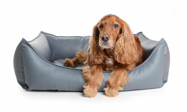 Hundebett Kunstleder Grau
