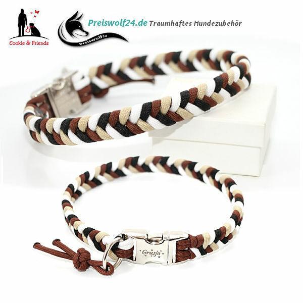 Hundehalsband aus Paracord Rust Schwarz Weiß Sand