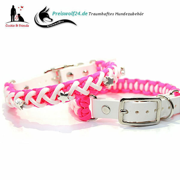 Paracod Hundehalsband Floating Colors Neon Pink Weiß