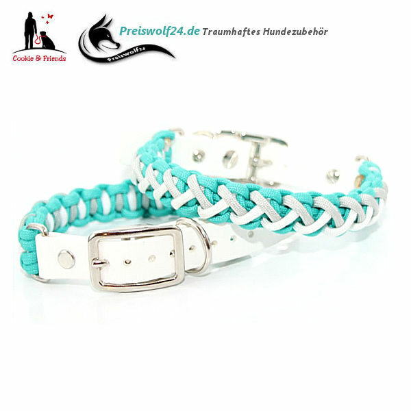 Paracod-Hundehalsband-Floating-Colors-Smal-Tuerkis-Silvergrey-Weiss