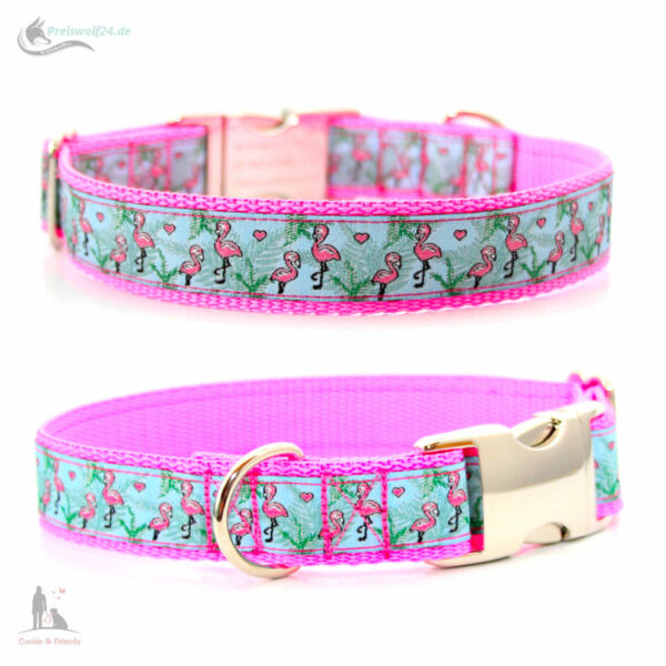 hundehalsband-flamingo-blue