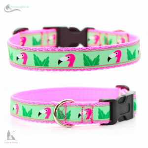 hundehalsband-flamingo-mint