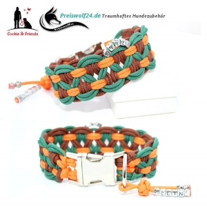 Paracod Hundehalsband Big Wave Tannengruen Braun Orange