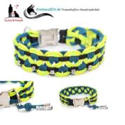 04-Paracod-Hundehalsband-big-wave-gecko-schwarz-blue-stipe