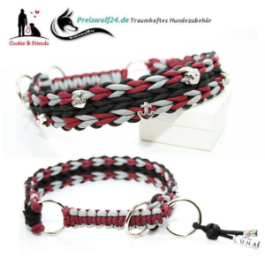 Paracod-Hundehalsband-Waterfall-bordeaux-schwarz-grau