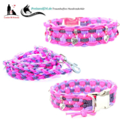 Paracod-Hundehalsband-big- lilac-Neonpink-purple-stripes-weiss